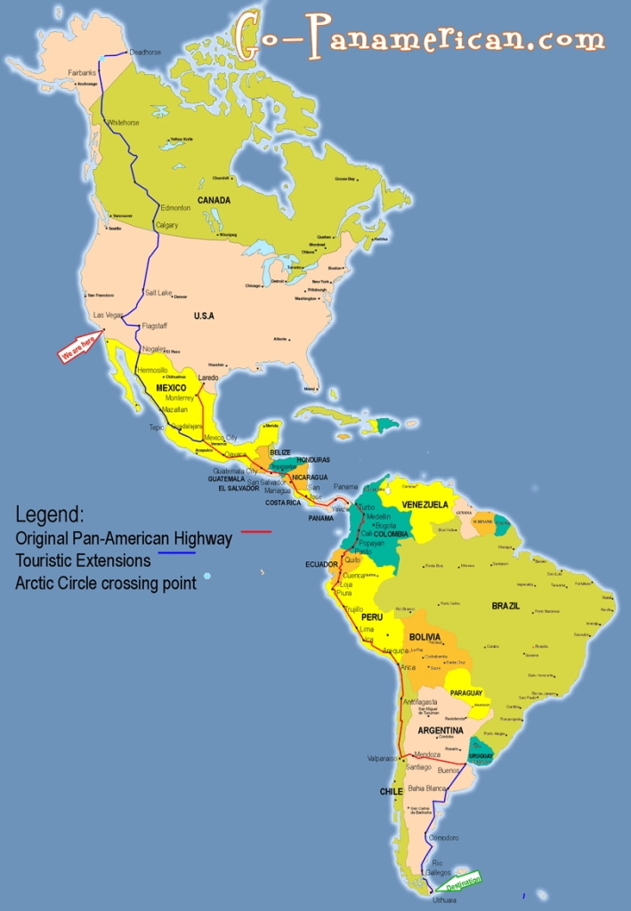 The map of the Pan American Highway
