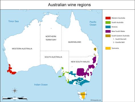 wine regions map australia