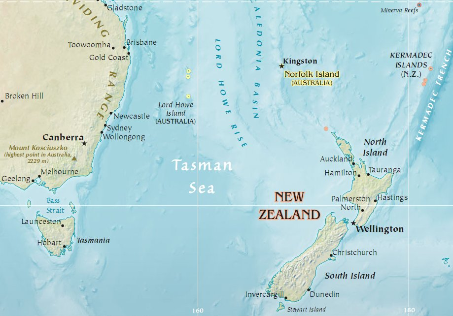 Tasman Sea Map